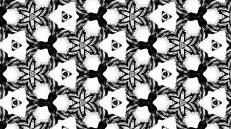 csillogás : 4k seamless looped animation of black and white pattern with ribbons are twisted and formed complex circular structures like symmetric ornament pattern or kaleidoscopic