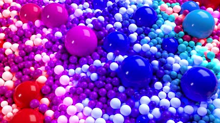 wallow : 3D looped animation with bright beautiful small and large spheres or balls as an abstract holiday background. Beautiful composition of colorful spheres