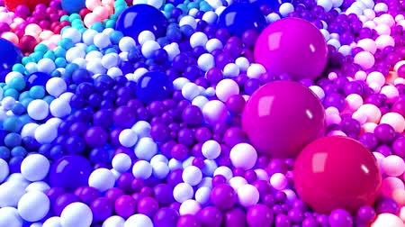 высокое разрешение : 3D looped animation with bright beautiful small and large spheres or balls as an abstract holiday background. Ð¡olorful composition of colorful spheres Стоковые видеозаписи