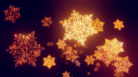 snow sparkle : 3d golden christmas background with bokeh and depth of field of shiny toy snowflakes hanging in the air beautifully shiny slowly swaying and shining in the light. Beautiful 3d for new year in 4k