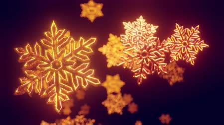 kerstsfeer : 3d golden christmas background with bokeh and depth of field of shiny toy snowflakes hanging in the air beautifully shiny slowly swaying and shining in the light. Beautiful 3d for new year in 4k