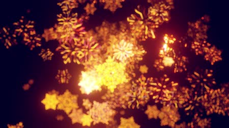 luminosidade : 3d golden christmas background with bokeh and depth of field of shiny toy snowflakes hanging in the air beautifully shiny slowly swaying and shining in the light. Beautiful 3d for new year in 4k