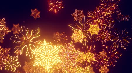 падуб : 3d golden christmas background with bokeh and depth of field of shiny toy snowflakes hanging in the air beautifully shiny slowly swaying and shining in the light. Beautiful 3d for new year in 4k
