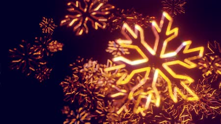 azevinho : 3d golden christmas background with bokeh and depth of field of shiny toy snowflakes hanging in the air beautifully shiny slowly swaying and shining in the light. Beautiful 3d for new year in 4k