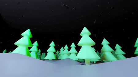 ilginç : 3d render background night coniferous forest in cartoon style like toys. Many Christmas trees in the night are highlighted. Beautiful Christmas background with copy space for inserts.