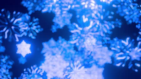 bagliori : 3d blue christmas background with bokeh and depth of field of shiny toy snowflakes hanging in the air beautifully shiny slowly swaying and shining in the light. Beautiful 3d for new year in 4k