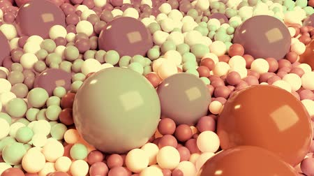 nagy felbontású : 3D looped animation with beautiful small and large spheres or balls pastel soft colors as an abstract holiday background. olorful composition of colorful spheres.