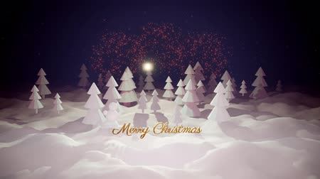 открывашка : 3d magical cartoon of Christmas Eve with magnificent shiny inscription Merry Christmas and christmas gifts in winter forest with snowdrifts, snowfall, moon and beautiful fireworks in night forest. Стоковые видеозаписи