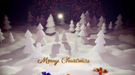 görkemli : 3d magical cartoon of Christmas Eve with magnificent shiny inscription Merry Christmas and christmas gifts in winter forest with snowdrifts, snowfall, moon and beautiful fireworks in night forest. Stok Video