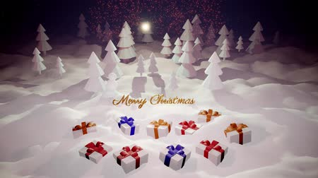 monte de neve : 3d magical cartoon of Christmas Eve with magnificent shiny inscription Merry Christmas and christmas gifts in winter forest with snowdrifts, snowfall, moon and beautiful fireworks in night forest. Stock Footage