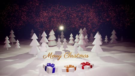 сугроб : 3d magical cartoon of Christmas Eve with magnificent shiny inscription Merry Christmas and christmas gifts in winter forest with snowdrifts, snowfall, moon and beautiful fireworks in night forest. Стоковые видеозаписи