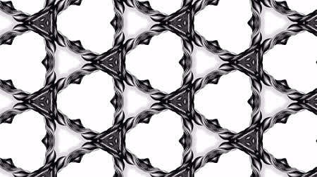 hallucination : 4k seamless looped animation of black and white pattern with ribbons are twisted and formed complex circular structures like symmetric ornament pattern or kaleidoscopic