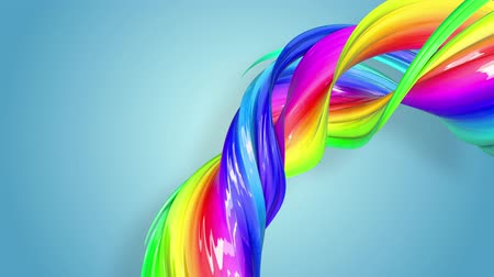 abstract animated : Fantastic beautiful ribbons of rainbow color twisted and bent, colorful creative background with soft smooth animation of lines and color gradients in 4k. Stock Footage