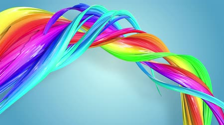görkemli : Fantastic beautiful ribbons of rainbow color twisted and bent, colorful creative background with soft smooth animation of lines and color gradients in 4k. Stok Video