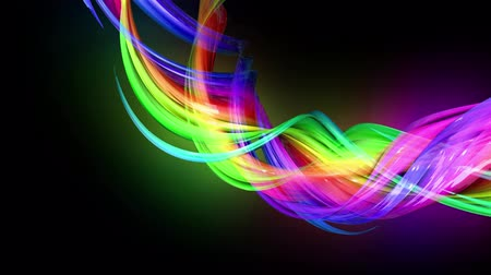 kisebbség : Motion graphics 3d looped amazing background with multicolor colorful rainbow ribbons. Transparent colored lines with a neon glow on a black background.