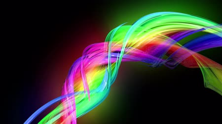 sugárzó : Motion graphics 3d looped amazing background with multicolor colorful rainbow ribbons. Transparent colored lines with a neon glow on a black background.