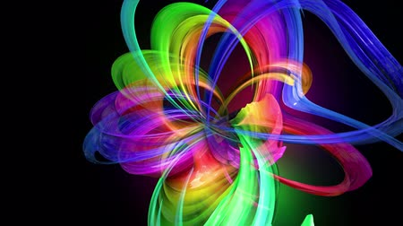 nagyítóüveg : Motion graphics 3d looped amazing background with multicolor colorful rainbow ribbons. Transparent colored lines with a neon glow on a black background.