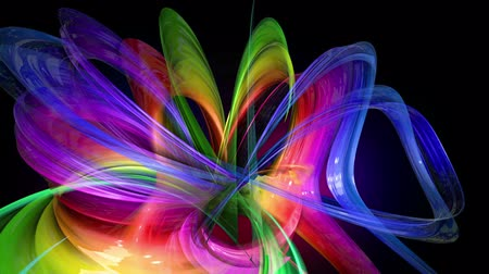 radiante : Motion graphics 3d looped amazing background with multicolor colorful rainbow ribbons. Transparent colored lines with a neon glow on a black background.