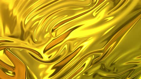 dobras : Gold silky fabric forms beautiful folds in the air in slow motion. 4k 3D animation of wavy surface forms ripples like in fluid surface and the folds like in tissue. Animated texture. Vídeos
