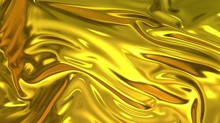 deformação : Gold silky fabric forms beautiful folds in the air in slow motion. 4k 3D animation of wavy surface forms ripples like in fluid surface and the folds like in tissue. Animated texture. Stock Footage