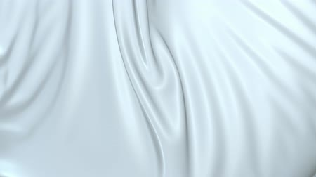 drappeggio : White silky fabric forms beautiful folds in the air in slow motion. 4k 3D animation of wavy surface forms ripples like in fluid surface and the folds like in tissue. Animated texture V21