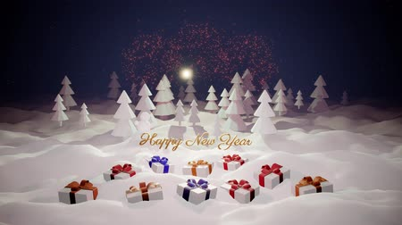 monte de neve : 3d magical cartoon of Christmas tale with magnificent shiny inscription Happy New Year and christmas gifts in winter forest with snowdrifts, snowfall, moon and beautiful fireworks in night forest. 12