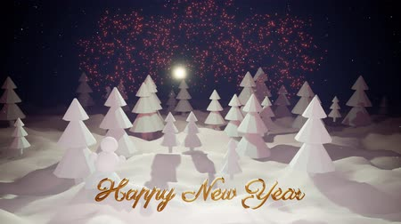 сугроб : 3d magical cartoon of Christmas tale with magnificent shiny inscription Happy New Year in winter forest with snowdrifts, snowfall, moon and beautiful fireworks in night forest. 15