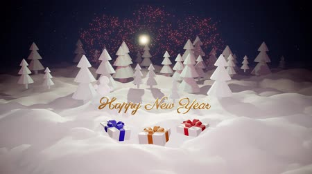 monte de neve : 3d magical cartoon of Christmas tale with magnificent shiny inscription Happy New Year and christmas gifts in winter forest with snowdrifts, snowfall, moon and beautiful fireworks in night forest. 19 Stock Footage