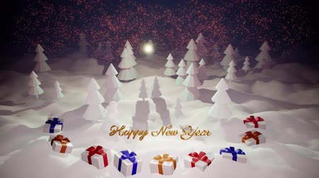 monte de neve : 3d magical cartoon of Christmas tale with magnificent shiny inscription Happy New Year and christmas gifts in winter forest with snowdrifts, snowfall, moon and beautiful fireworks in night forest. 20 Stock Footage