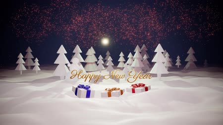 görkemli : 3d magical cartoon of Christmas tale with magnificent shiny inscription Happy New Year and christmas gifts in winter forest with snowdrifts, snowfall, moon and beautiful fireworks in night forest. 22