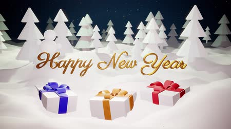 monte de neve : 3d magical cartoon of Christmas tale with magnificent shiny inscription Happy New Year and christmas gifts in winter forest with snowdrifts, snowfall, moon and beautiful fireworks in night forest. 24 Stock Footage