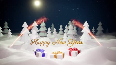 святки : 3d magical cartoon of Christmas tale with magnificent shiny inscription Happy New Year and christmas gifts in winter forest with snowdrifts, snowfall, moon and beautiful fireworks in night forest. 25 Стоковые видеозаписи