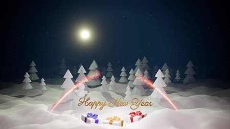 monte de neve : 3d magical cartoon of Christmas tale with magnificent shiny inscription Happy New Year and christmas gifts in winter forest with snowdrifts, snowfall, moon and beautiful fireworks in night forest. 28 Stock Footage