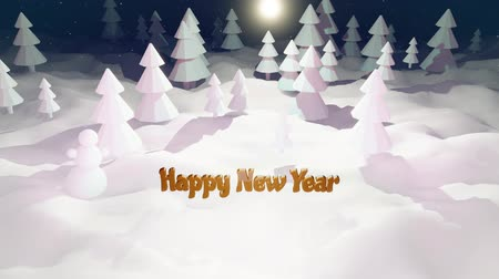 興味深い : 3d cartoon of magical Christmas tale with magnificent shiny inscription Happy New Year in winter night forest with snowdrifts, snowfall. Cartoon low poly style