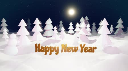 monte de neve : 3d cartoon of magical Christmas tale with magnificent shiny inscription Happy New Year in winter night forest with snowdrifts, snowfall. Cartoon low poly style