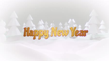 symbol : 3d cartoon of magical Christmas tale with magnificent shiny inscription Happy New Year in winter forest with snowdrifts, snowfall. Cartoon low poly style with white haze