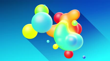 whirling : multi-colored balls or bubbles with popular gradient colors and in subsurface glow material fly in the air merge like drops metaballs, spheres casting long shadows. 4k seamless looped background 2