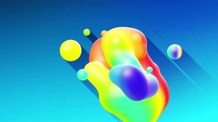 rtuť : multi-colored balls or bubbles with popular gradient colors and in subsurface glow material fly in the air merge like drops metaballs, spheres casting long shadows. 4k seamless looped background 1