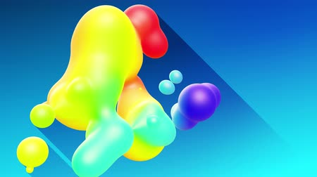 döküm : multi-colored balls or bubbles with popular gradient colors and in subsurface glow material fly in the air merge like drops metaballs, spheres casting long shadows. 4k seamless looped background 7
