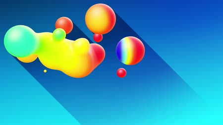 swirling : multi-colored balls or bubbles with popular gradient colors and in subsurface glow material fly in the air merge like drops metaballs, spheres casting long shadows. 4k seamless looped background 9