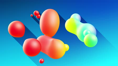 whirling : multi-colored balls or bubbles with popular gradient colors and in subsurface glow material fly in the air merge like drops metaballs, spheres casting long shadows. 4k seamless looped background 14