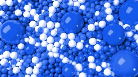высокое разрешение : 3d simple abstract geometric background with blue and white balls cover the surface, mixing smoothly. 4k seamless looped animation as a beautiful creative background for presentations