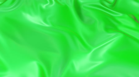 atlaszfényû : 4k 3D smooth animation of wavy green cloth surface that forms ripples like in fluid surface or the folds in tissue. Green silky fabric forms beautiful folds in the air in slow motion. 9
