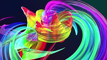 abstract background of transparent beautiful ribbons moving in circle, twisted lines, looped 3d animation with rainbow gradient colors transitions in glass ribbon. Close up 7 Stok Video