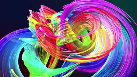 tahy : abstract background of transparent beautiful ribbons moving in circle, twisted lines, looped 3d animation with rainbow gradient colors transitions in glass ribbon. Close up 8
