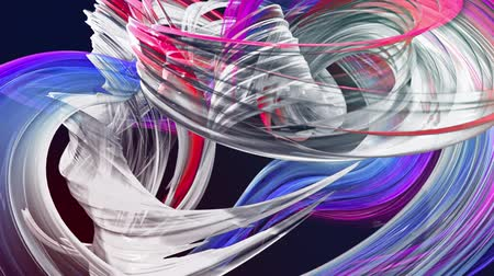 neve : abstract background of transparent beautiful ribbons moving in circle, twisted lines, looped 3d animation with rainbow gradient colors transitions in glass ribbon. Close up 9