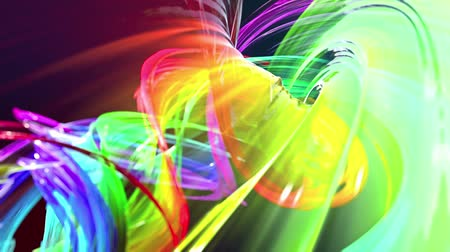vezetékek : abstract background of transparent beautiful ribbons moving in circle, twisted lines, looped 3d animation with rainbow gradient colors transitions in glass ribbon. Close up 10