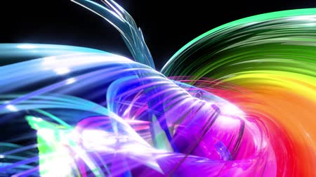 abstract background of transparent beautiful ribbons moving in circle, twisted lines, looped 3d animation with rainbow gradient colors transitions in glass ribbon. Close up 11 Stok Video