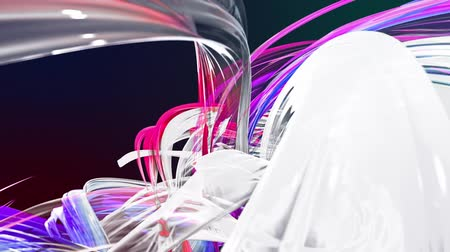 abstract background of transparent beautiful ribbons moving in circle, twisted lines, looped 3d animation with rainbow gradient colors transitions in glass ribbon. Close up 12 Stok Video
