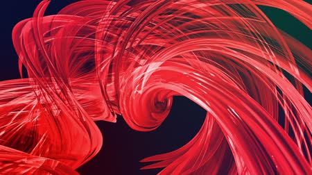 abstract background of transparent beautiful ribbons moving in circle, twisted lines, looped 3d animation with red gradient transitions in glass ribbon. 3 Stok Video